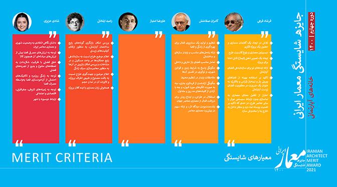 معیارهای شایستگی چهارمین دوره جایزه شایستگی معمار ایرانی (۱۴۰۰)
